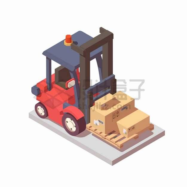 2.5D风格红色电动叉车搬运木制托盘上的纸箱子货物png图片素材
