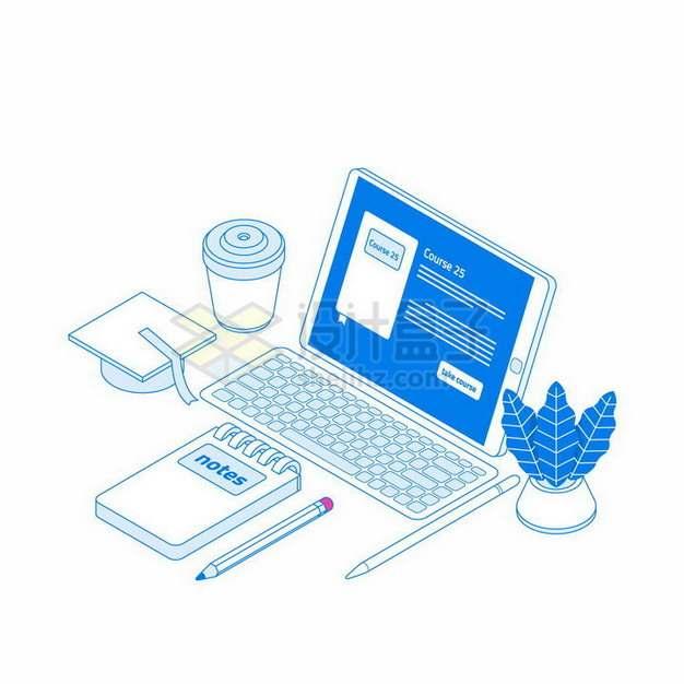 扁平插画风格蓝色带键盘的平板电脑和记事本咖啡杯等png图片免抠矢量素材