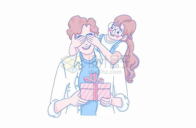 卡通女孩捂住爸爸的眼睛送父亲节礼物亲子关系彩绘插画png图片素材