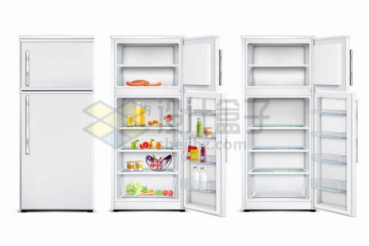 银色的双开门电冰箱的关闭和打开使用状态png图片免抠矢量素材