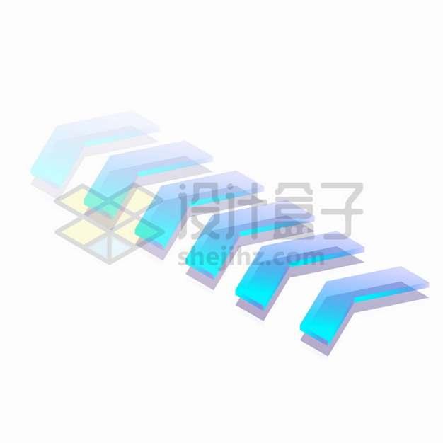 3D立体蓝色箭头玻璃材质方向箭头png图片素材