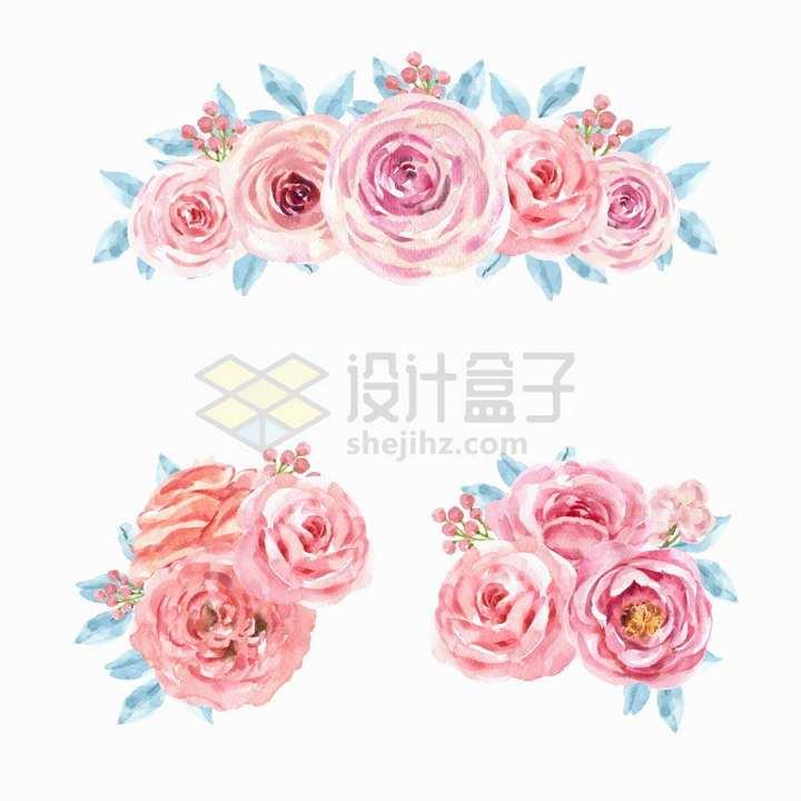 3款玫瑰花牡丹花等粉红色花朵鲜花水彩画花卉png图片免抠矢量素材