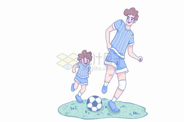 父亲节卡通爸爸和儿子一起踢足球玩耍亲子关系彩绘插画png图片素材