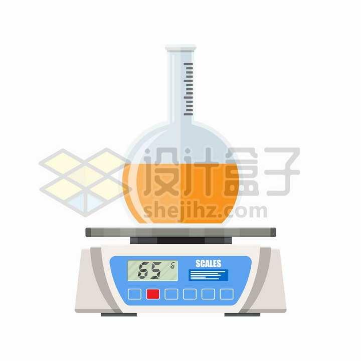 电子秤上的烧瓶化学实验仪器png图片免抠矢量素材