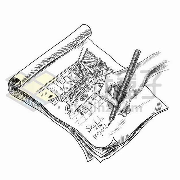 手绘素描风格在纸上绘画png图片免抠矢量素材