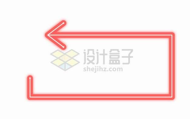 红色霓虹灯线条箭头组成的方框png图片素材