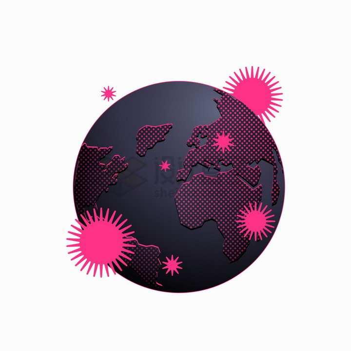 玫红色新型冠状病毒和黑色地球模型png图片免抠矢量素材