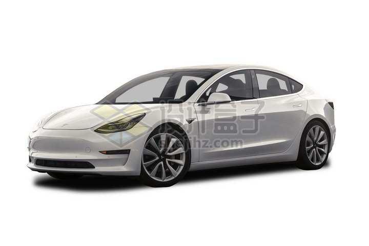 银色特斯拉Model 3电动汽车png图片素材