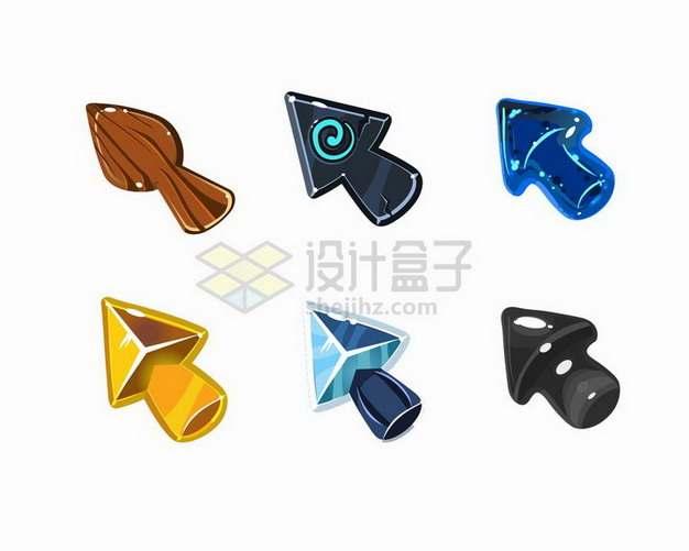 水晶风格木制黄金石头等不同材质的箭头游戏按钮png图片免抠矢量素材