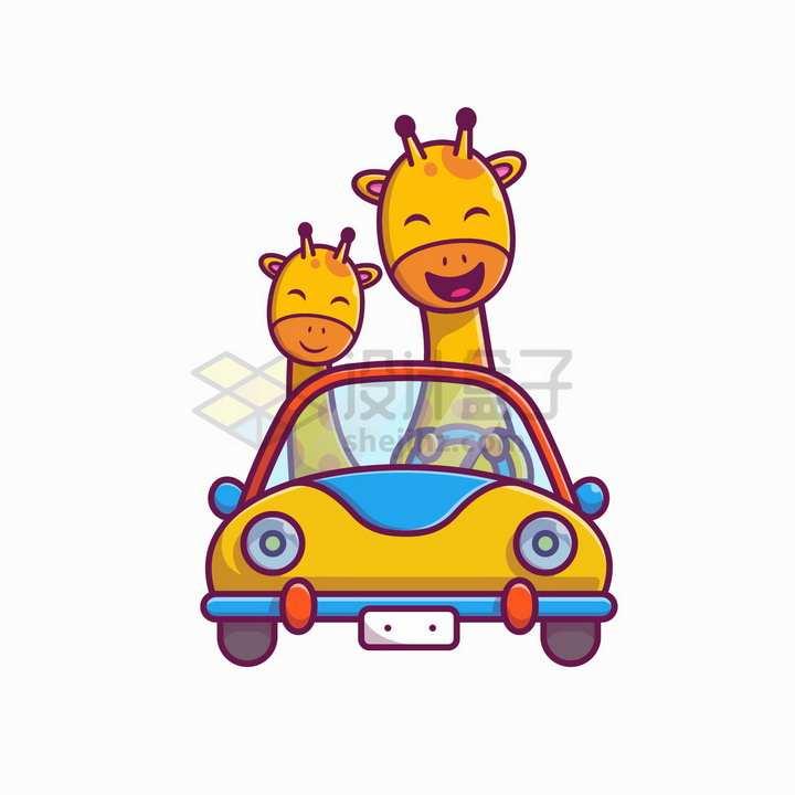 开汽车的卡通长颈鹿png图片免抠矢量素材