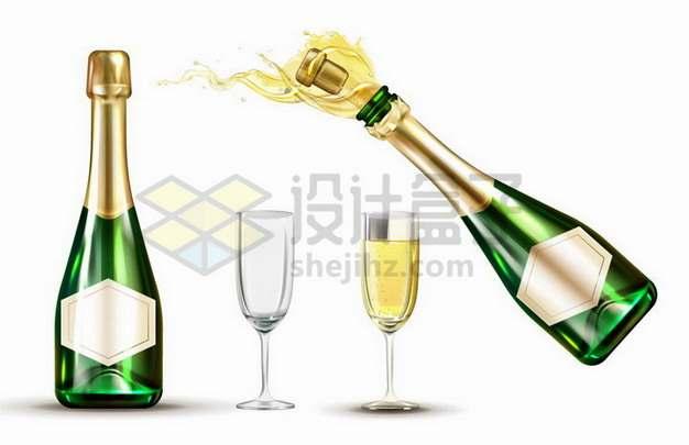 绿色酒瓶的香槟酒酒瓶与酒杯png图片免抠矢量素材