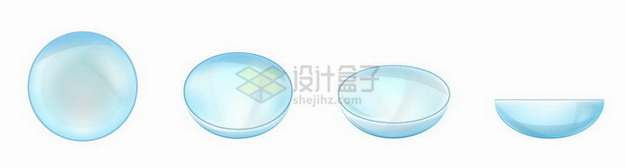 淡蓝色隐形眼镜的四个不同角度png图片免抠矢量素材