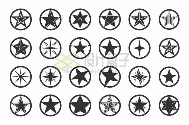 24款黑色圆圈中的星星五角星图案png图片素材