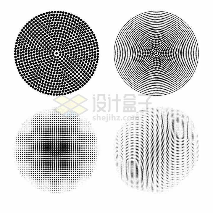 4款黑色小圆点组成的圆形图案png图片免抠矢量素材