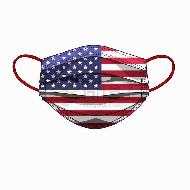 美国国旗星条旗图案的一次性医用口罩png图片免抠矢量素材