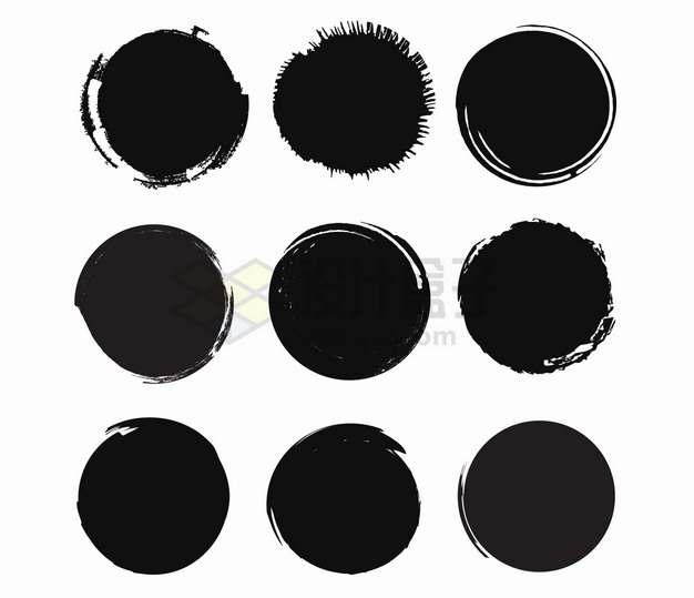 9款黑色墨水涂鸦圆圈背景框png图片素材