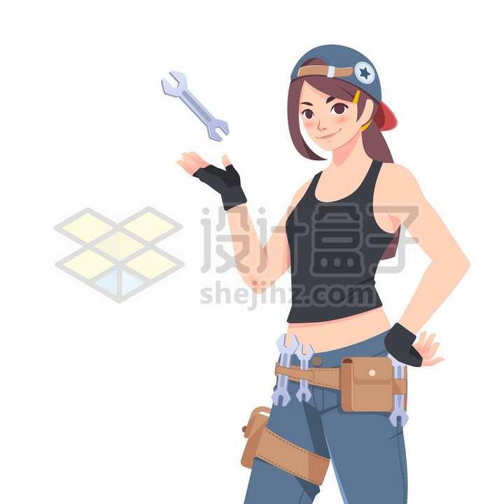 可爱卡通女孩拿着各种工具象征了工人五一劳动节png图片免抠矢量素材