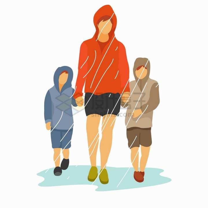 下雨天手牵手牵着两个孩子的年轻爸爸扁平插画png图片免抠矢量素材