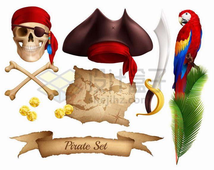 骷髅头海盗帽子宝藏地图等海盗道具png图片免抠矢量素材