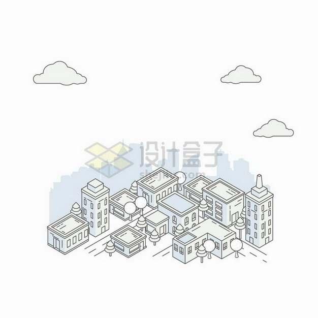 MBE风格线条全景城市建筑和街道png图片免抠矢量素材