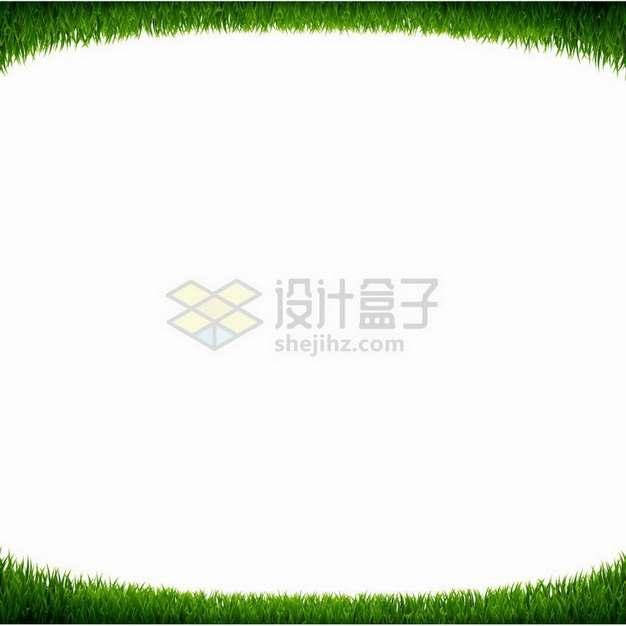 绿色青草草坪组成的上下边框png图片免抠矢量素材