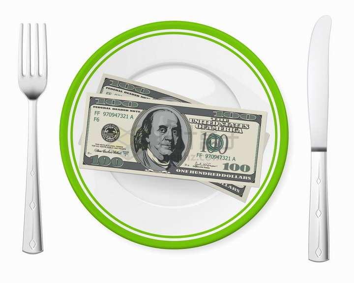 餐盘中的美元钞票和刀叉png图片免抠矢量素材