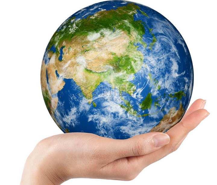 手掌托起的高清地球png图片免抠素材