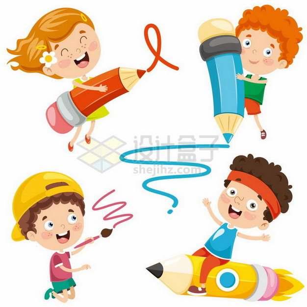 4款卡通小男孩小女孩拿着铅笔在到处涂鸦写写画画png图片免抠矢量素材