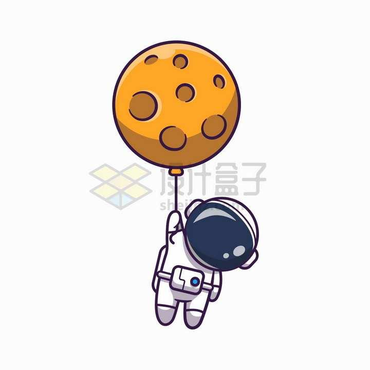 卡通宇航员被外星球气球带飞png图片免抠矢量素材
