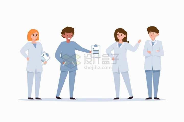 4个卡通医生拿着医疗报告扁平插画png图片免抠矢量素材