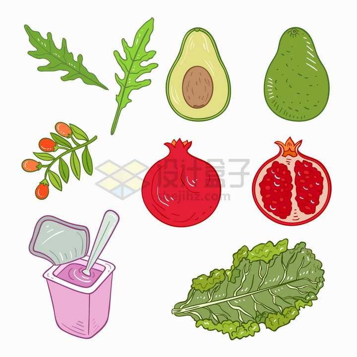 枸杞牛油果石榴酸奶生菜等美味水果蔬菜手绘插画png图片免抠矢量素材