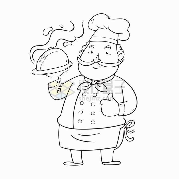 卡通厨师简笔画儿童插画png图片免抠矢量素材