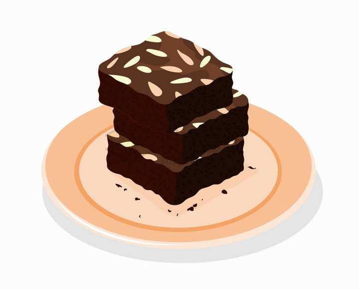 三块巧克力瓜子仁布朗尼蛋糕美味西餐美食png图片免抠矢量素材