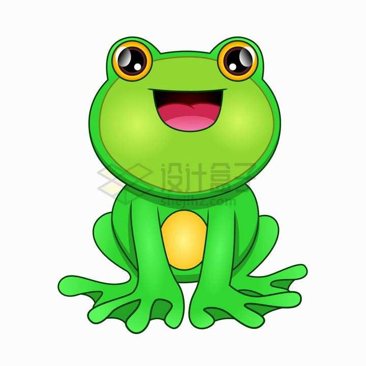 微笑的可爱绿色卡通青蛙png图片免抠矢量素材