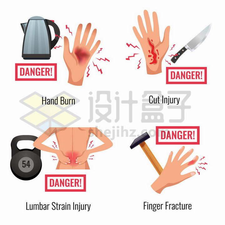 烫伤割伤拉伤骨折等四种人体伤痛插图png图片免抠矢量素材
