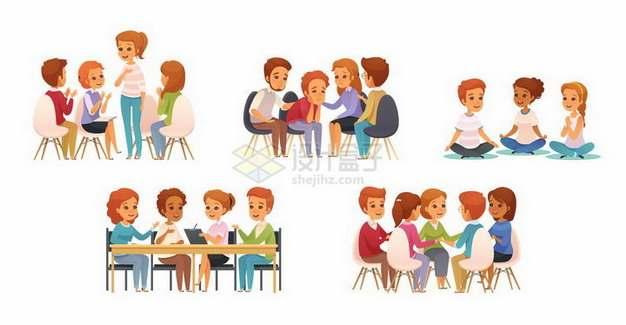 5款坐在一起讨论问题的卡通人物png图片免抠矢量素材