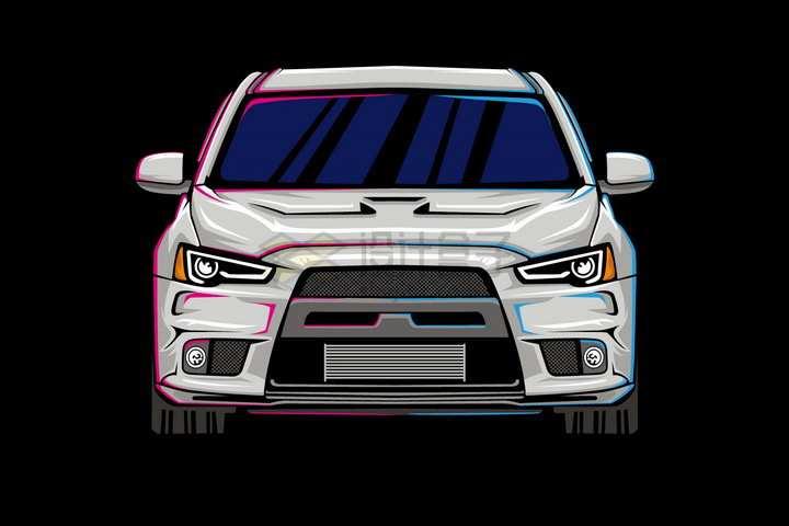 漫画风格银灰色汽车正面图png图片免抠矢量素材