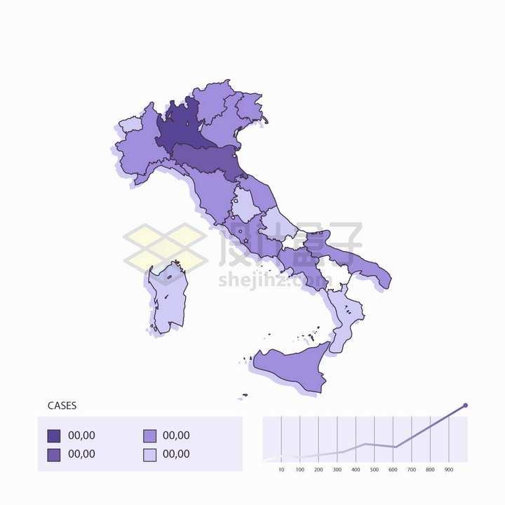 新型冠状病毒肺炎在意大利的发展地图插画png图片免抠矢量素材
