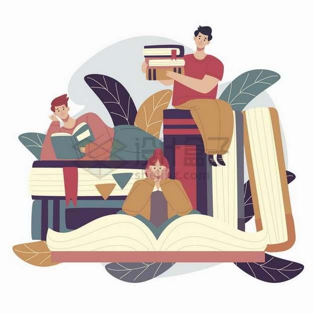 三个认真看书的年轻人世界读书日手绘插画png图片免抠矢量素材