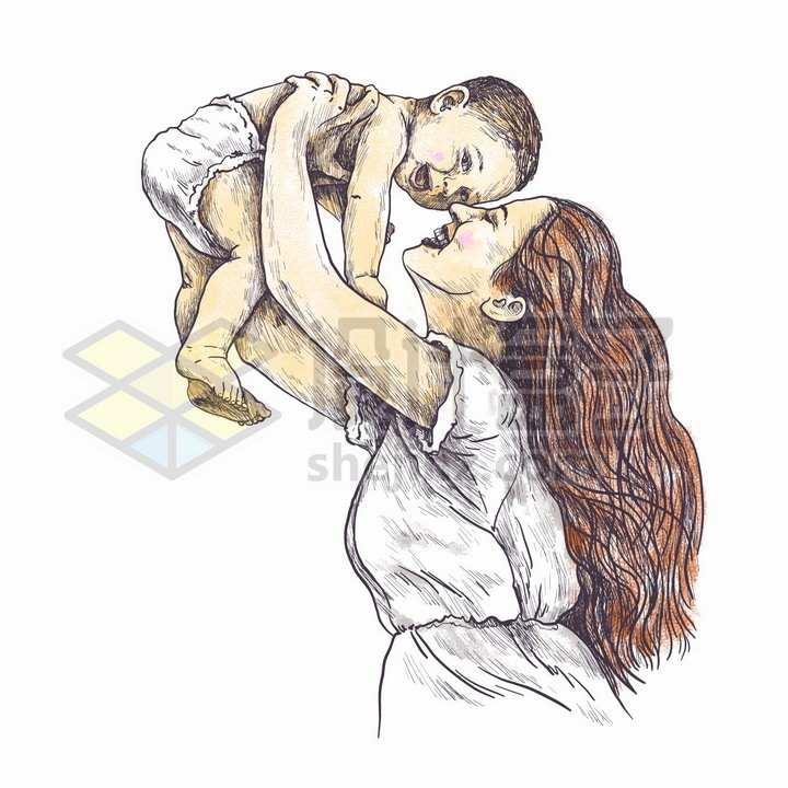 把婴儿宝宝高高举起的年轻妈妈母亲节彩绘素描插画png图片免抠矢量素材