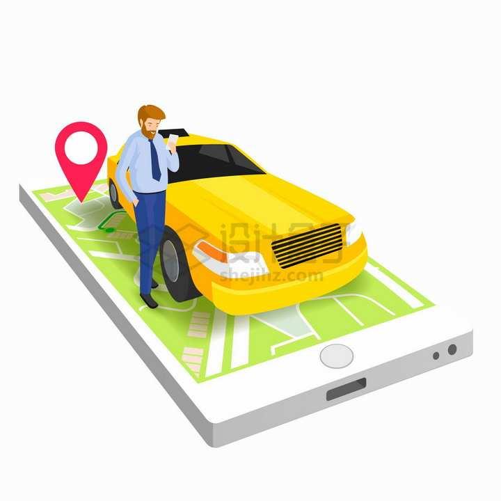 2.5D风格手机上的滴滴司机打车APP服务插画png图片免抠矢量素材