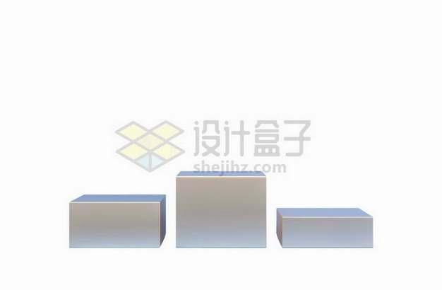银灰色方块展台舞台颁奖台高低各不同png图片免抠矢量素材