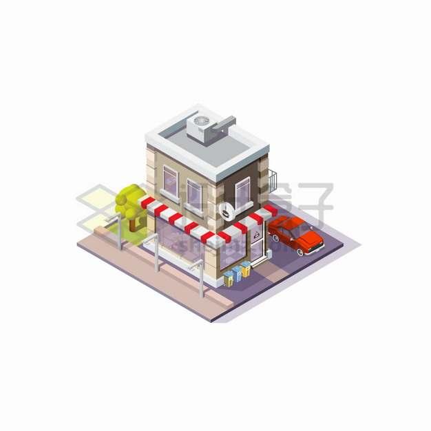 2.5D风格街头的咖啡馆和小汽车png图片素材