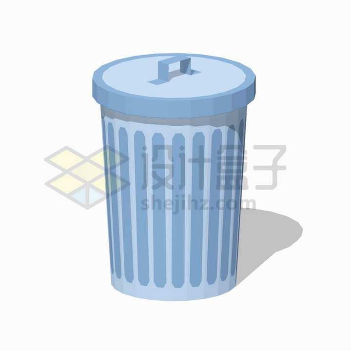 一个盖上盖子的垃圾桶扁平插画png图片免抠矢量素材