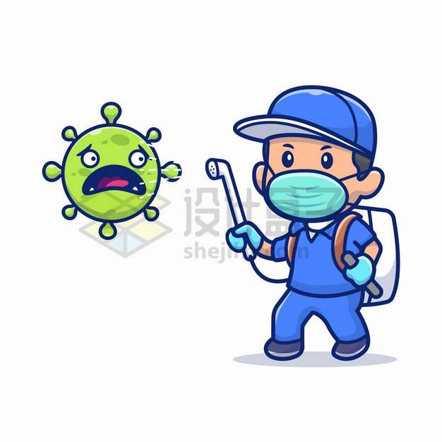 戴口罩的卡通医护人员用消毒液喷洒在新型冠状病毒身上png图片素材