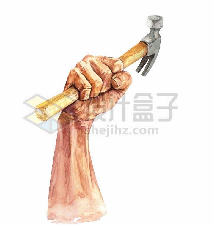 握紧的拳头拿着锤子五一劳动节水彩插画png图片免抠矢量素材