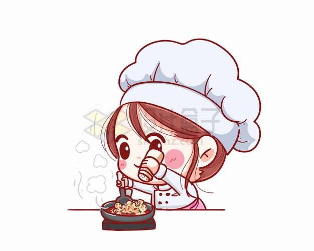 卡通美女小厨师正在做菜烹饪加作料png图片素材