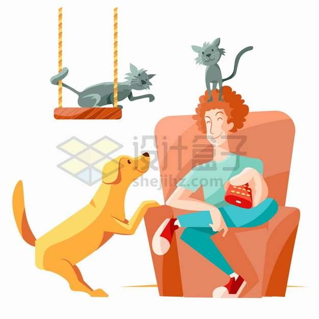 卡通年轻人坐在沙发上和狗狗猫咪一起玩耍png图片素材