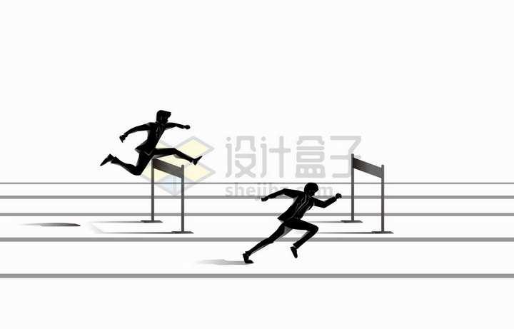 商务人士在赛道上跨栏比赛象征了竞争关系png图片免抠矢量素材