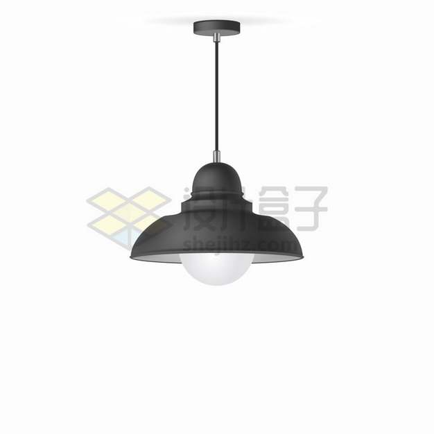 一盏黑色吊灯电灯png图片素材